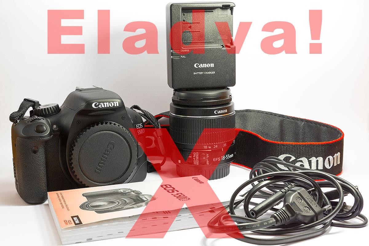 Canon EOS 550D + 18-55 IS II + ajándék táska használtan eladó